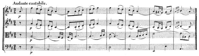 Beethoven, string quartet op.18/5, mvt.3, score sample