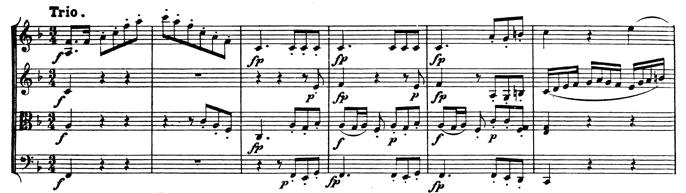 Beethoven, string quartet op.59/3, mvt.3, score sample, Trio