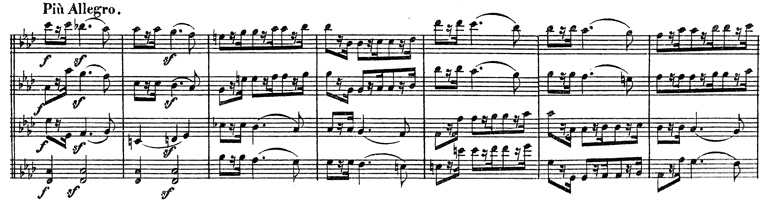 Beethoven, string quartet op.95, mvt.3, score sample, Più Allegro
