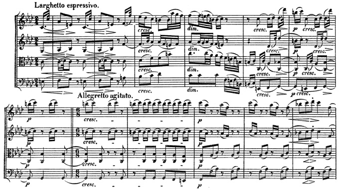Beethoven, string quartet op.95, mvt.4, score sample, Larghetto espressivo - Allegretto agitato