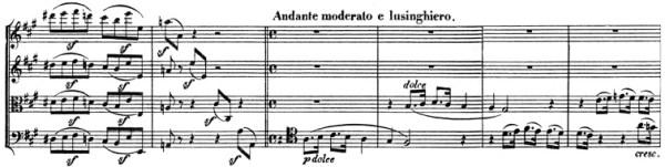 Beethoven, string quartet op.131, mvt.4, score sample, Andante moderato e lusinghiero