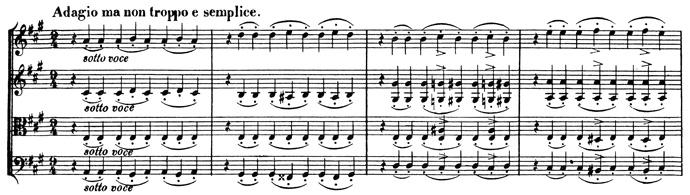 Beethoven, string quartet op.131, mvt.4, score sample, Adagio, ma non troppo e semplice