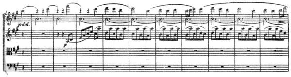 "Beethoven, string quartet op.132, mvt.2, score sample, ""Trio"", hurdy-gurdy"