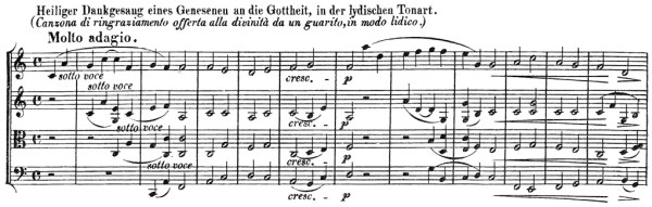 Beethoven, string quartet op.132, mvt.3, score sample, molto adagio