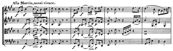 Beethoven, string quartet op.132, mvt.4, score sample, Alla marcia, assai vivace