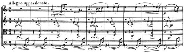Beethoven, string quartet op.132, mvt.5, score sample, Allegro appassionato