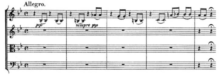 Beethoven: Great Fugue op.133, score sample, Allegro (II)