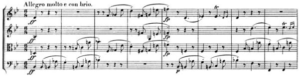 Beethoven: Great Fugue op.133, score sample, Allegro molto e con brio (I)