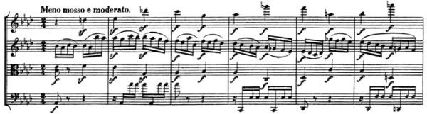 Beethoven: Great Fugue op.133, score sample, Meno mosso e moderato (III)