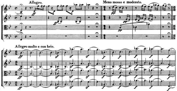 Beethoven: Great Fugue op.133, score sample, Allegro - Meno mosso e moderato - Allegro molto e con brio