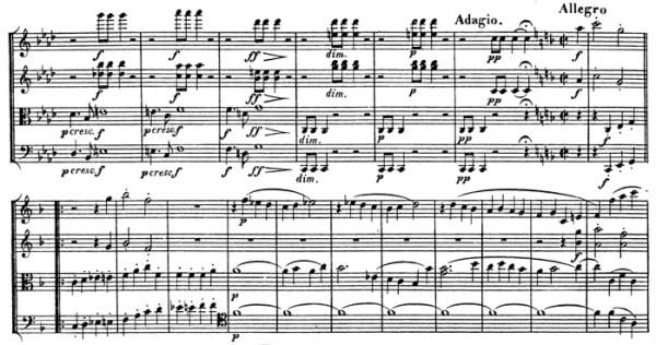 Beethoven, string quartet op.135, mvt.4, score sample, Allegro