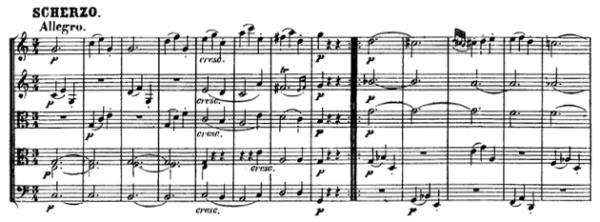 Beethoven, string quintet op.29, mvt.3, score sample, Scherzo