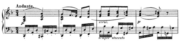 Beethoven, piano sonata No.15 D major, op.28: mvt 2, score sample
