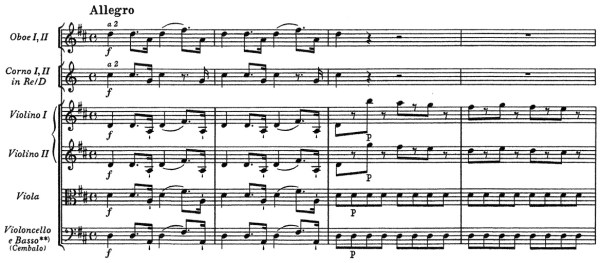 Mozart: Symphony No.4 in D, K.19 — score sample, mvt.1 (NMA)