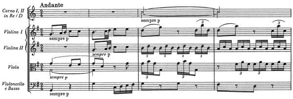 Mozart: Symphony No.4 in D, K.19 —score sample, mvt.2
