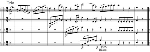Haydn, Symphony No.103, score sample, mvt.3, Trio