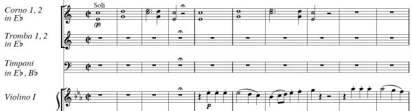 Haydn, Symphony No.103, score sample, mvt.4