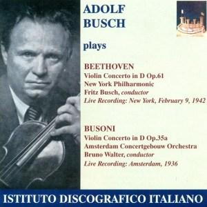 Beethoven / Busoni: Violin Concertos — Busch / Busch; CD cover