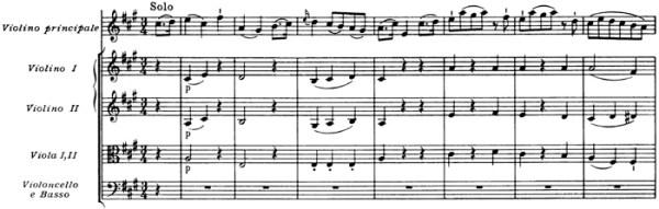 Mozart: Violin Concerto No.5 in A, K.219 —score sample, mvt.3, beginning