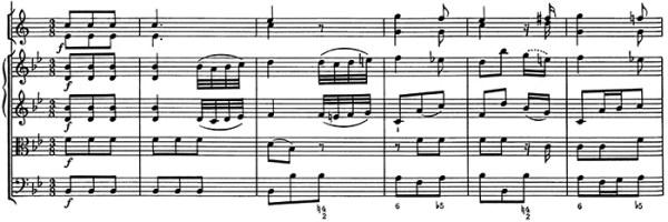 Mozart: Symphony No.5 in B♭, K.22 —score sample, mvt.3, theme