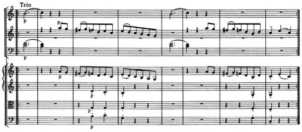 """Mozart: Symphony No.41 in C major, K.551, """"Jupiter"""" —score sample, mvt.3 / Trio"""