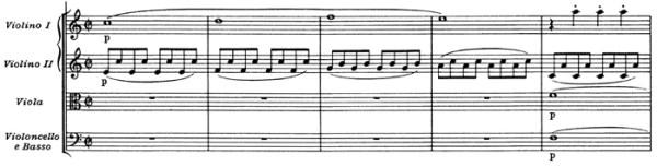 """Mozart: Symphony No.41 in C major, K.551, """"Jupiter"""" —score sample, mvt.4"""