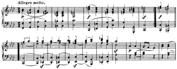 Beethoven: Piano Sonata in A♭ major, op.110, score sample: movement #2