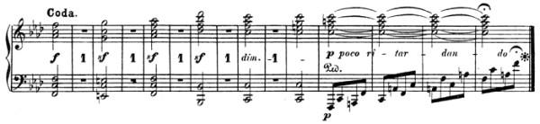 Beethoven: Piano Sonata in A♭ major, op.110, score sample: movement #2, Coda