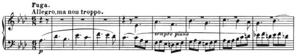 Beethoven: Piano Sonata in A♭ major, op.110, score sample: movement #3, Fuga