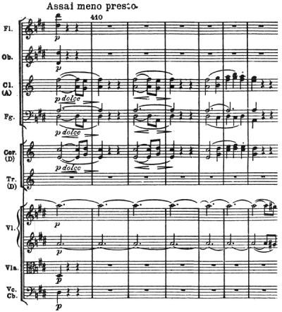 Beethoven: Symphony No.7 in A major, op.92, score sample: movement #3, Assai meno presto