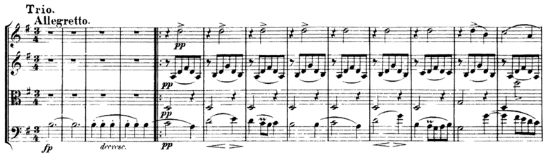 Schubert, String Quartet No.15 in G, D.884, score sample, mvt.III, Trio