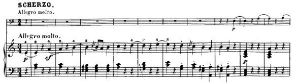 Beethoven, Cello Sonata in A major, op.69; score sample: movement II, Scherzo