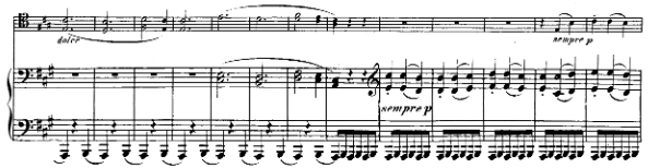 Beethoven, Cello Sonata in A major, op.69; score sample: movement II, Trio