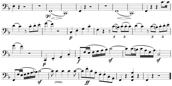 Beethoven, Sonata for Piano and Horn/Cello in F major, op.17; score sample: movement 1, last bars from cello part