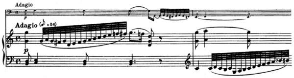 Beethoven, Cello Sonata in C major, op.102/1; score sample: movement 3, Adagio