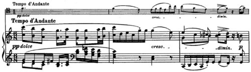 Beethoven, Cello Sonata in C major, op.102/1; score sample: movement 3, Tempo d'Andante