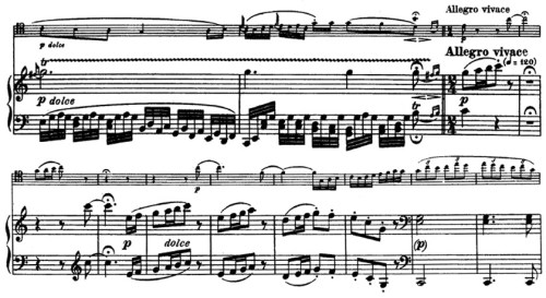 Beethoven, Cello Sonata in C major, op.102/1; score sample: movement 4, Allegro vivace