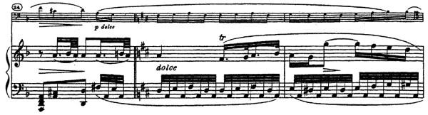 Beethoven, Cello Sonata in D major, op.102/2; score sample: movement 2, Adagio con molto sentimento d'affetto / D major, dolce