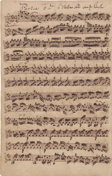Bach, Partita in E major, BWV 1006, Preludio, autograph 1720