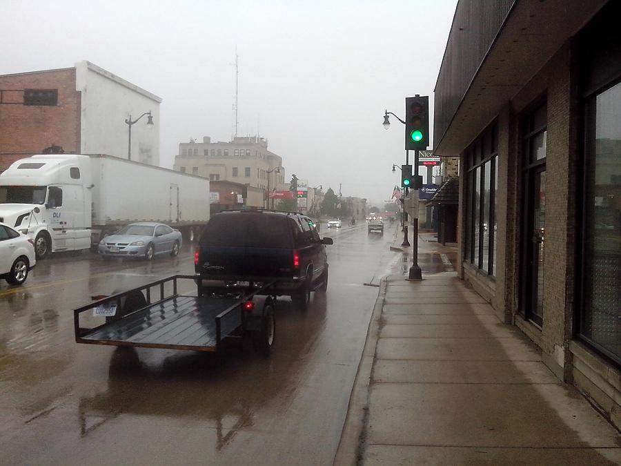 Rain on Hall Ave in Marinette