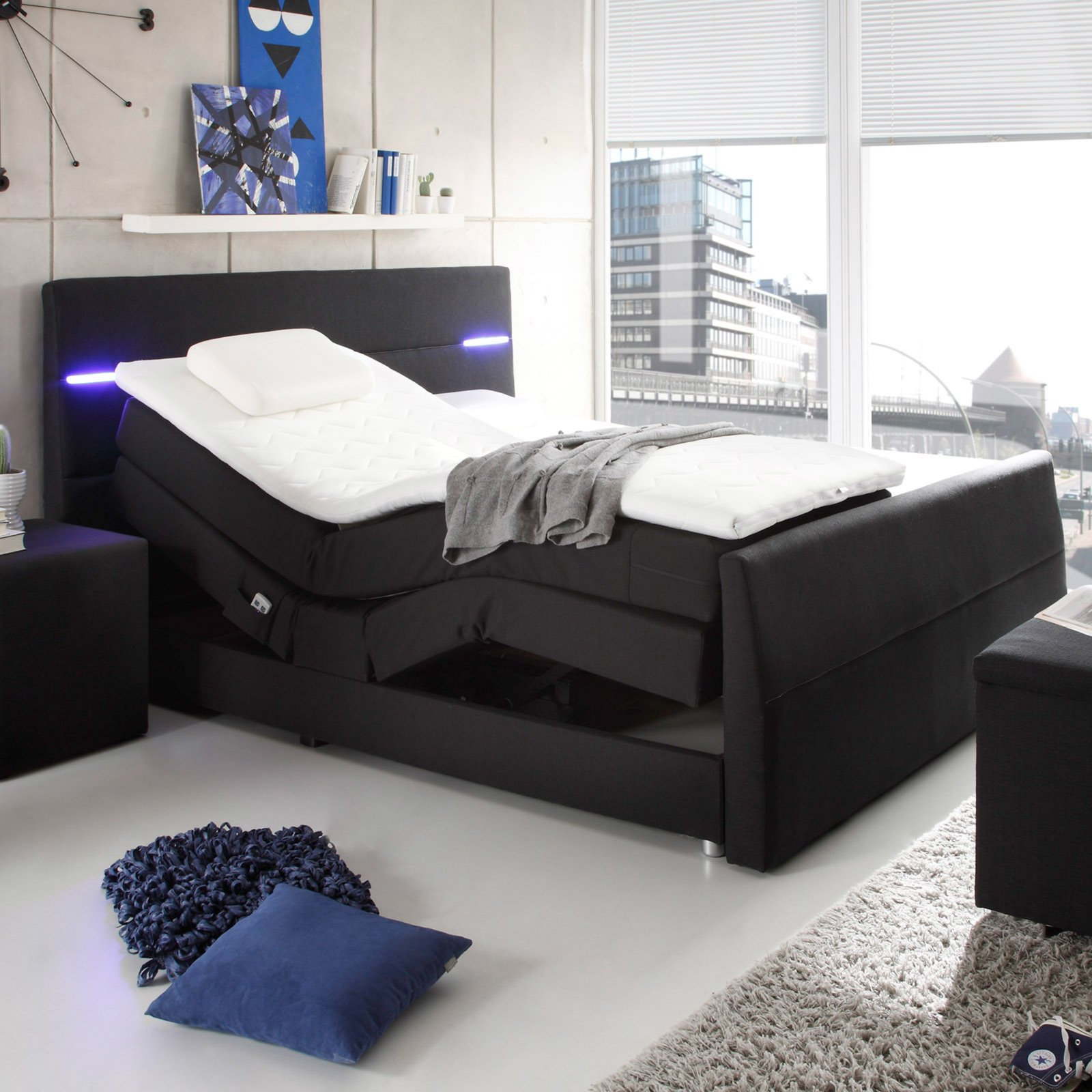 Boxspringbett NEBRASKA  schwarz  180x200 cm  eBay
