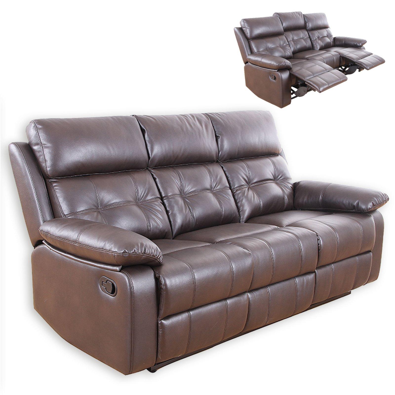 sofa couch online bestellen interio fifty nine bettsofa 3-sitzer - dunkelbraun kunstleder relaxfunktion ...