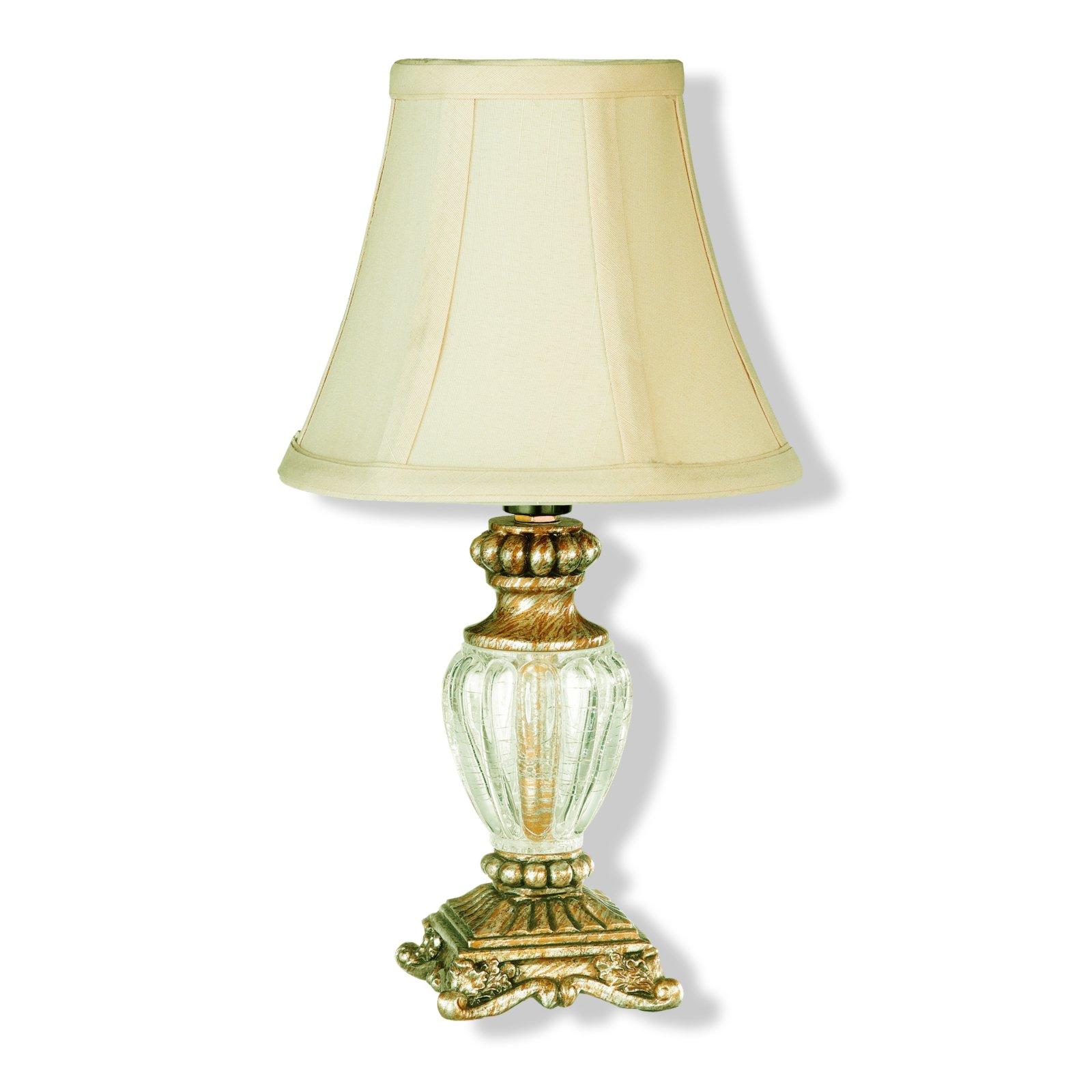 Tischlampe ANTIK  Messing  Stoffschirm gold