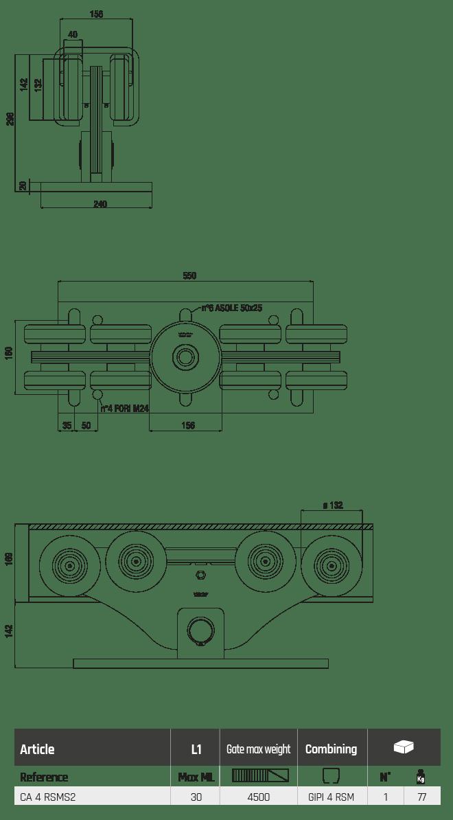CA 4 RSMS2 super magnum2 8 wheeled cantilever gate