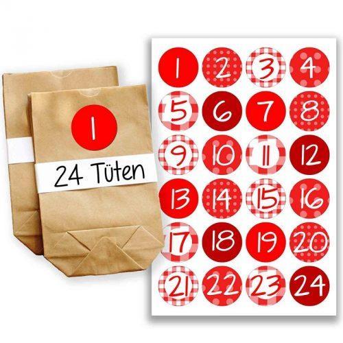 calendario con sacchettini in carta