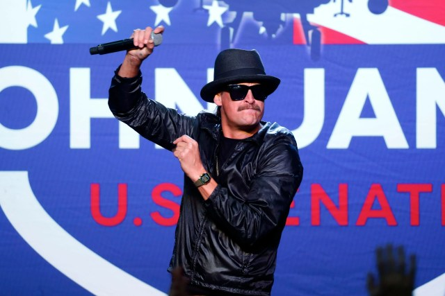 Kid Rock performs during a rally for Republican U.S. Senate candidate John James in Pontiac, MichElection 2018 Senate James, Pontiac, USA - 17 Oct 2018