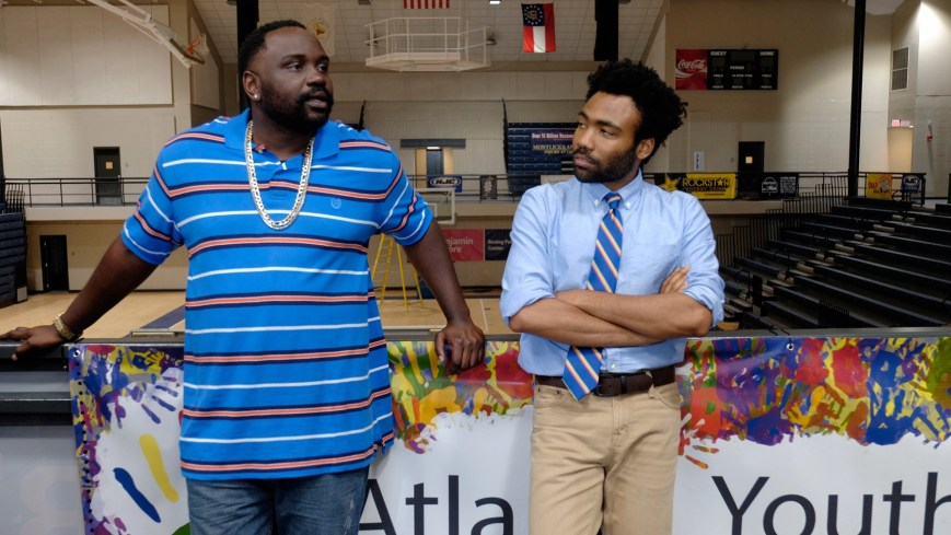 """ATLANTA -- """"Nobody Beats The Biebs"""" -- Episode 105 (Airs Tuesday, September 27, 10:00 pm e/p) Pictured: (l-r) Brian Tyree Henry as Alfred Miles, Donald Glover as Earnest Marks. CR: Guy D'Alema/FX"""