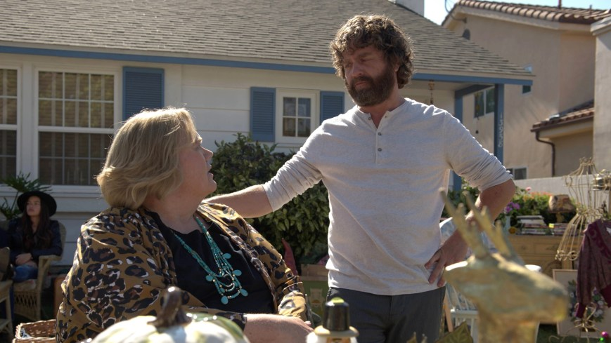 """BASKETS -- """"Yard Sale"""" --Season 2, Episode 9 (Airs Thursday, March 16, 10:00 pm/ep) -- Pictured: (l-r) Louie Anderson as Christine Baskets, Zach Galifianakis as Chip Baskets. CR: Colleen Hayes/FX"""