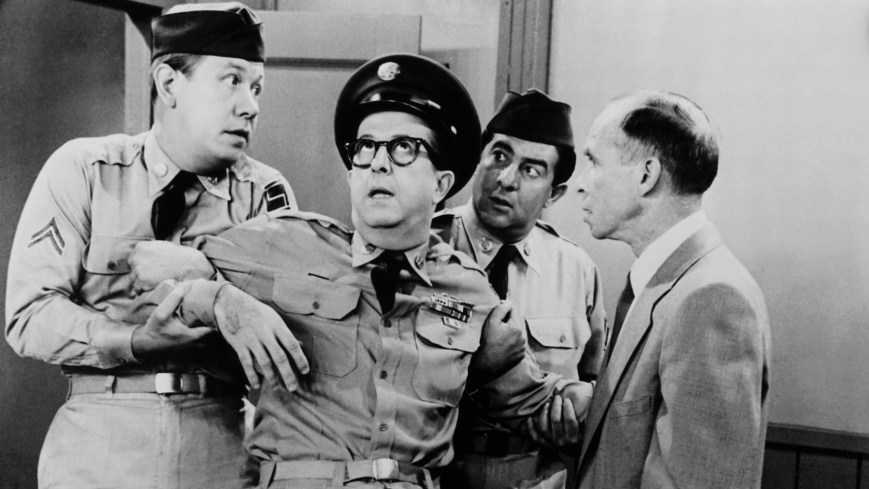 THE PHIL SILVERS SHOW, (aka YOU'LL NEVER GET RICH, aka SGT. BILKO), from left: Allan Melvin, Phil Silvers, Harvey Lembeck, 1955-1959