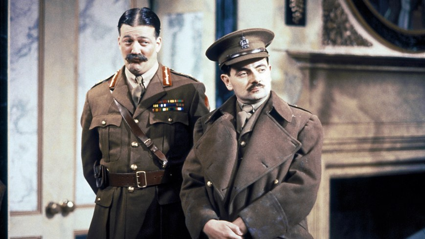 BLACKADDER GOES FORTH, l-r: Stephen Fry, Rowan Atkinson in 'Captain Cook' (Season 1, Episode 1, aired September 28, 1989). ©BBC/courtesy Everett Collection